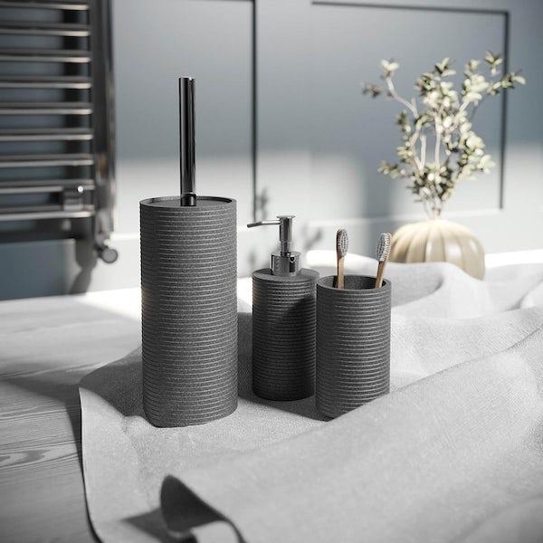 Accents grey 3 piece bathroom setAccents Bora Bora grey ceramic 3 piece bathroom set