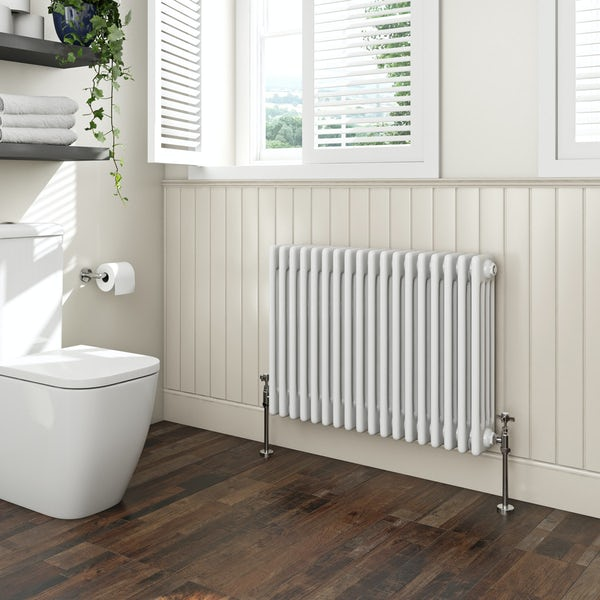 The Bath Co. Camberley white 4 column radiator 600 x 834