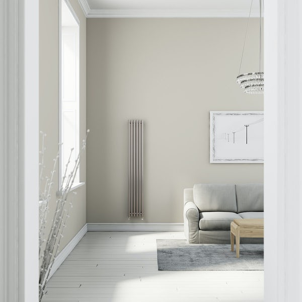 Terma Tune matt nickel single vertical radiator 1800 x 290