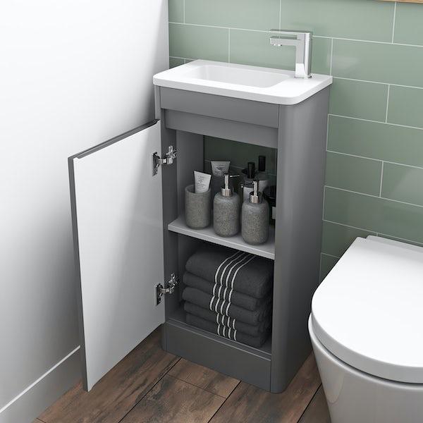 Mode De Gale grey cloakroom floorstanding vanity unit and right hand basin 410mm