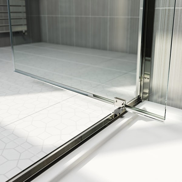 Orchard 6mm pivot shower door with stone tray