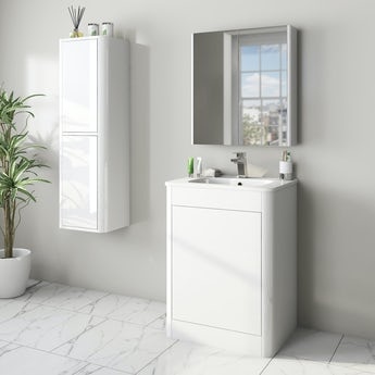 Mode Carter white furniture package with floorstanding vanity unit 600mm