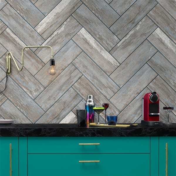British Ceramic Tile Industrial distressed wood matt wall and floor tile 148mm x 498mm