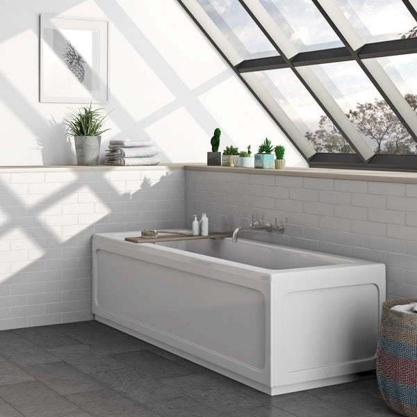 Kirke square edge single ended reinforced bath 1700 x 700 offer pack