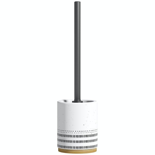 Accents ceramic white patterned toilet brush holder