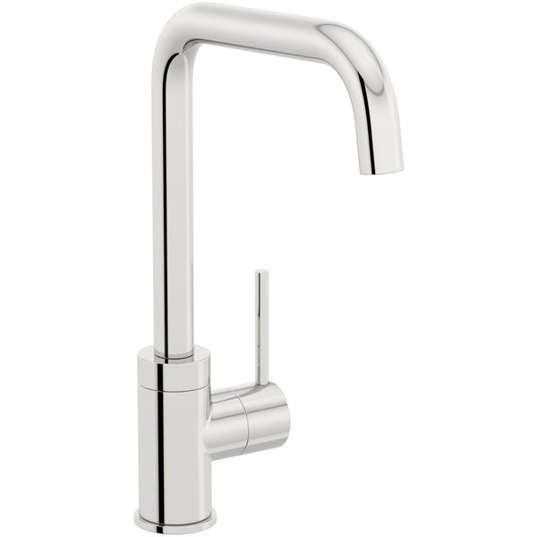 Rangemaster Atlantic Classic 1.5 bowl undermount right handed kitchen sink with waste and Schon L spout tap