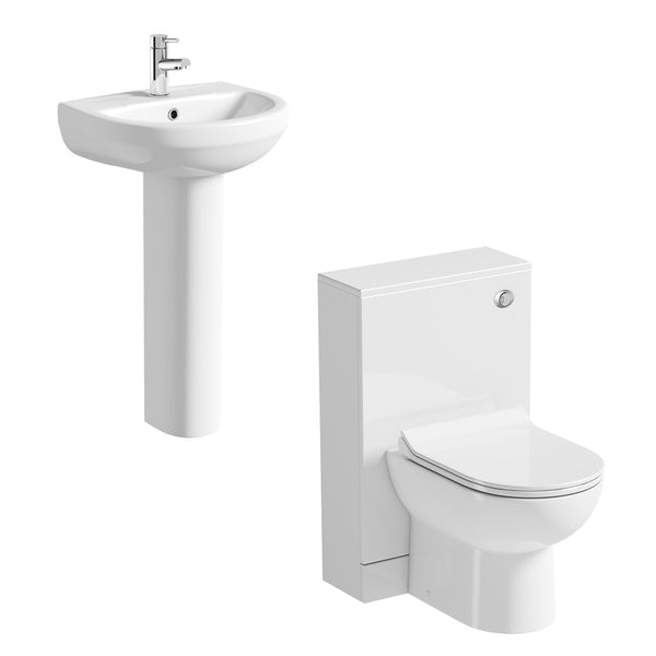 Orchard Eden contemporary cloakroom suite with full pedestal basin 550mm