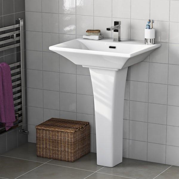 Mode Austin cloakroom suite with full pedestal basin 550mm