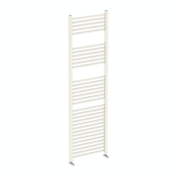Eden round white heated towel rail 1600 x 500 offer pack