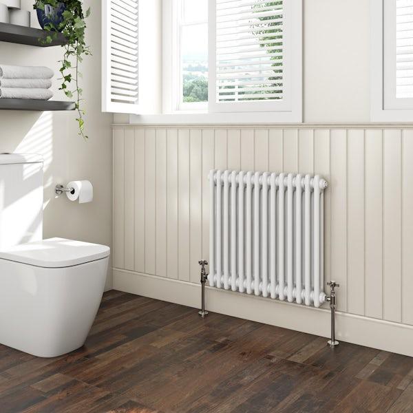 The Bath Co. Camberley white 2 column radiator 600 x 654