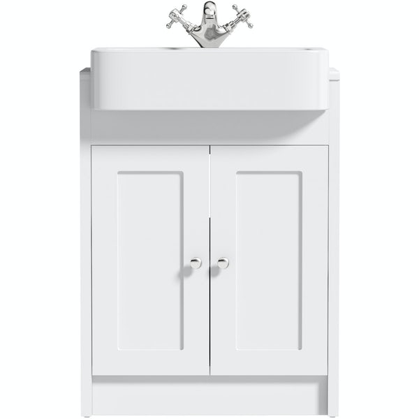 The Bath Co. Dulwich matt white floorstanding vanity unit with semi recessed basin 600mm