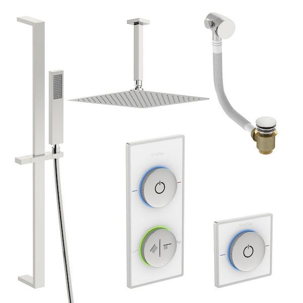 SmarTap white smart shower system with complete square ceiling shower bath set