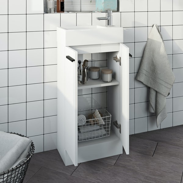 Clarity Compact white cloakroom suite with contemporary close coupled toilet and black handles