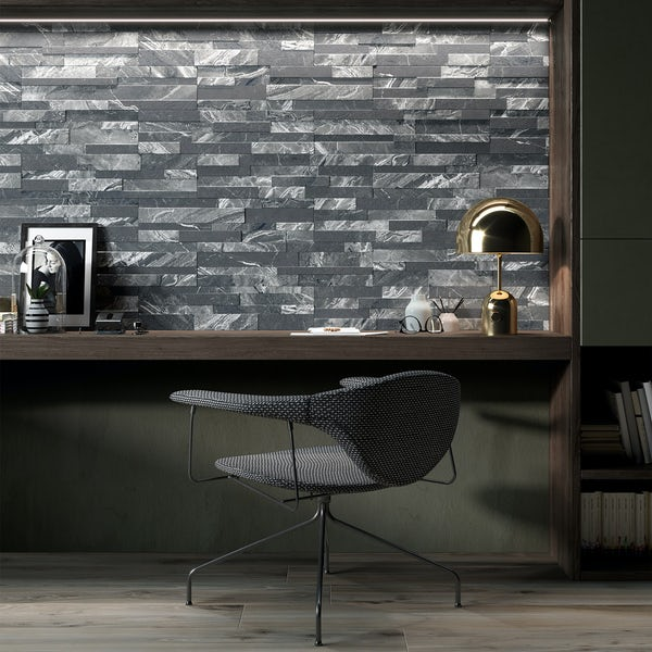 Bolsena black split face stone effect matt wall tile 150mm x 610mm