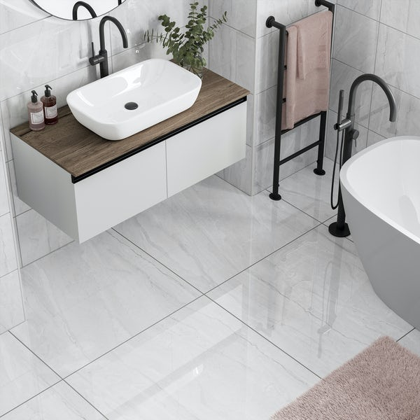 Comet light grey marble effect gloss wall and floor tile 300mm x 600mm