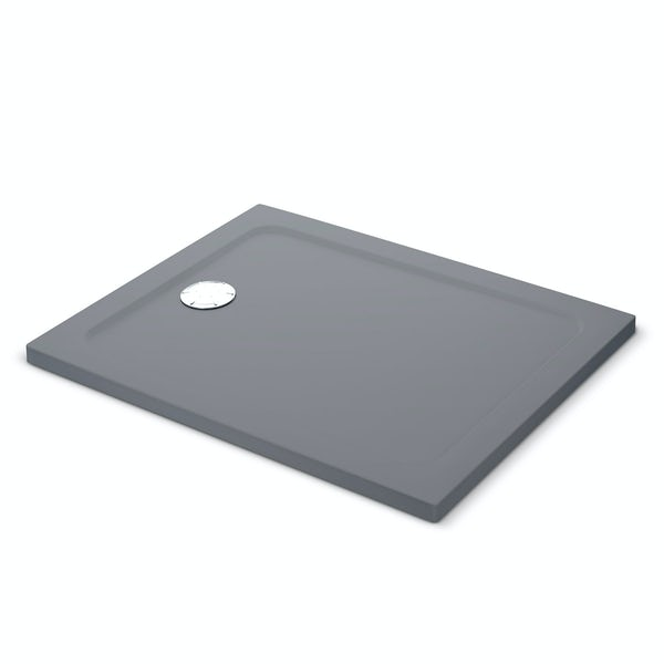 Mira Flight Safe low level anti-slip rectangular shower tray in Anthracite grey