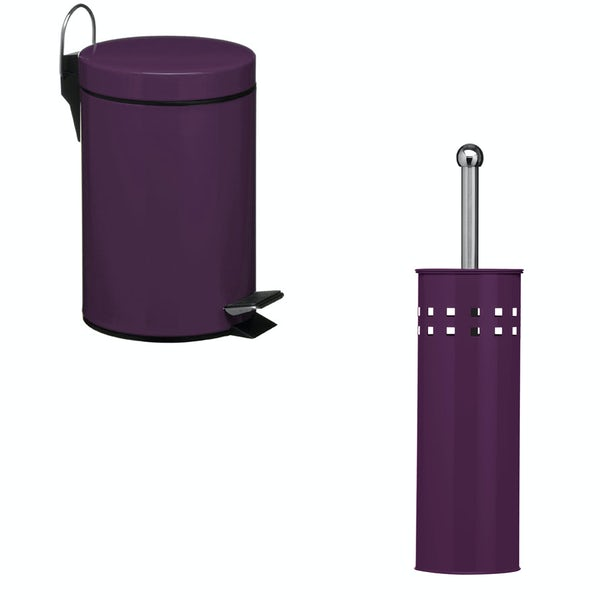 Accents Purple 3l bin and toilet brush 2 piece bathroom accessory set