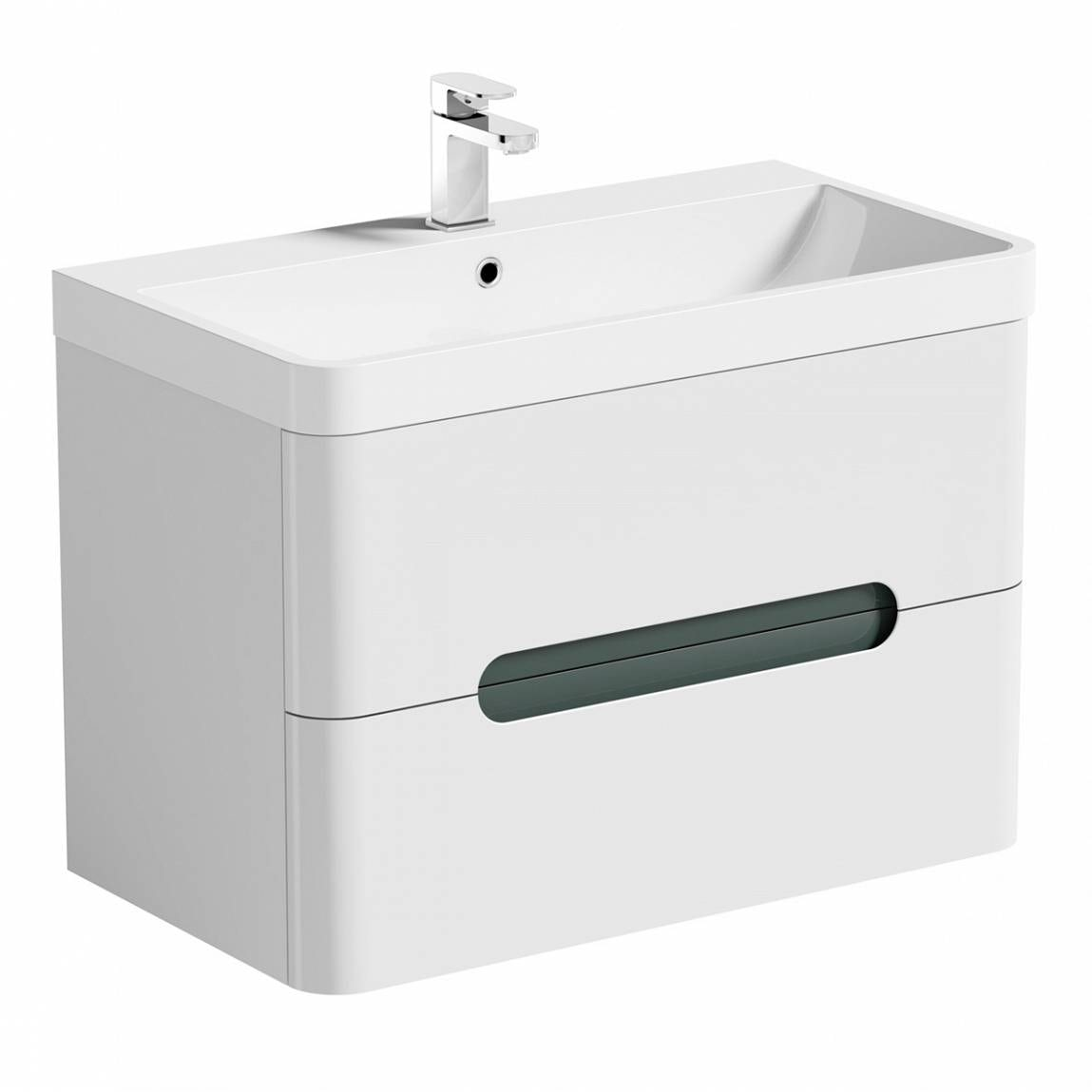 Mode Ellis slate wall hung vanity drawer unit and basin 800mm