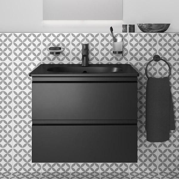 Ideal Standard IOM silk black soap dish and holder