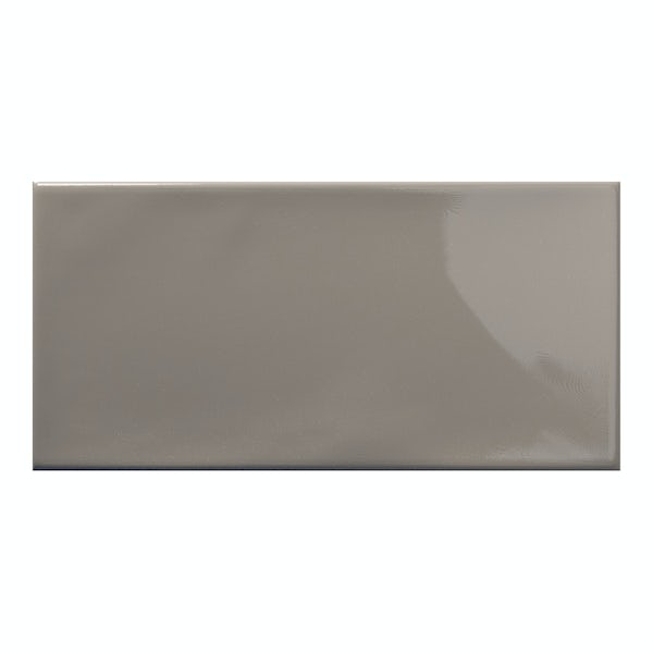 Annecy dark grey gloss wall tile 75mm x 150mm