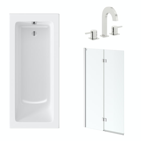 Mode straight shower bath with 8mm hinged panel shower screen 1700 x 700 with free tap