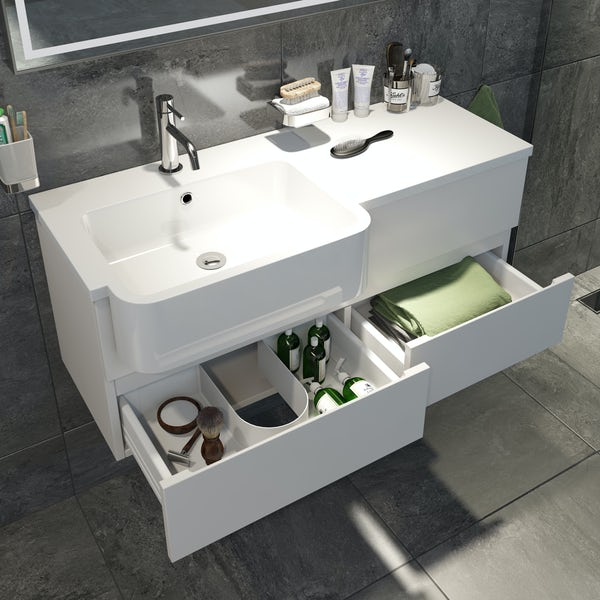 Mode Roche white wall hung vanity and semi-recessed basin 1000mm