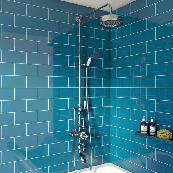 The Bath Co. Camberley rain can thermostatic exposed mixer shower and bath filler