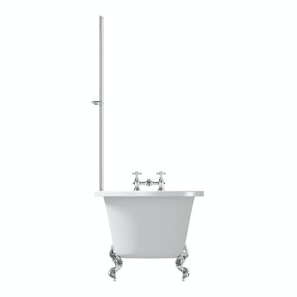 The Bath Co. Dulwich freestanding shower bath and bath screen with rail