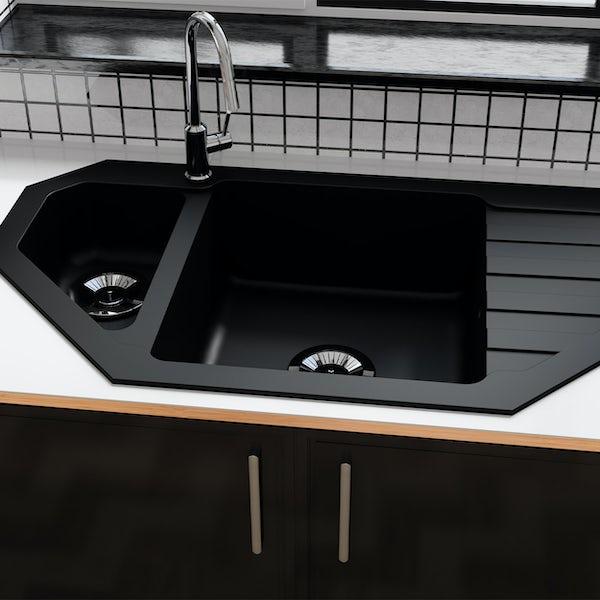 Schon Otranto Obsidian 1.5 bowl reversible countertop kitchen sink