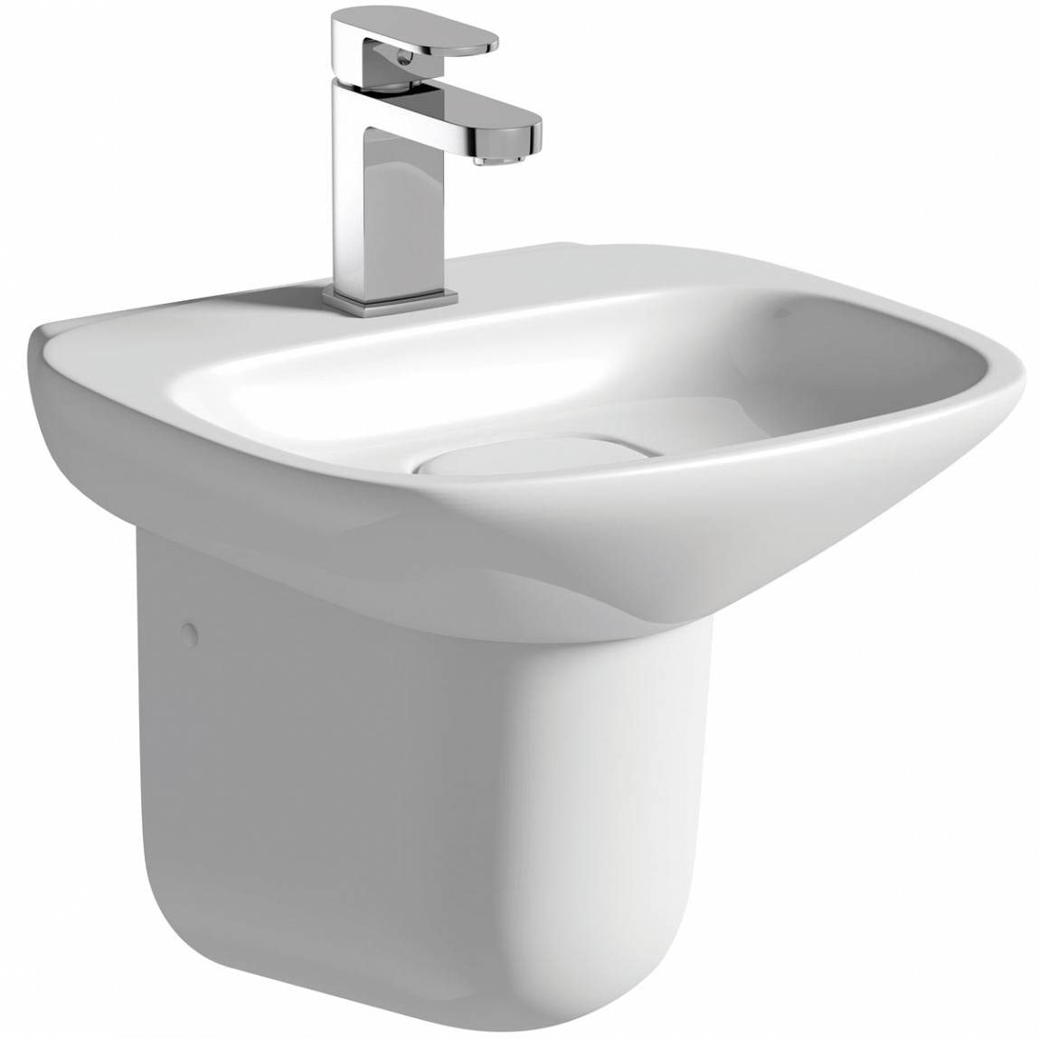 Heath 1TH 400mm Basin and Semi Pedestal