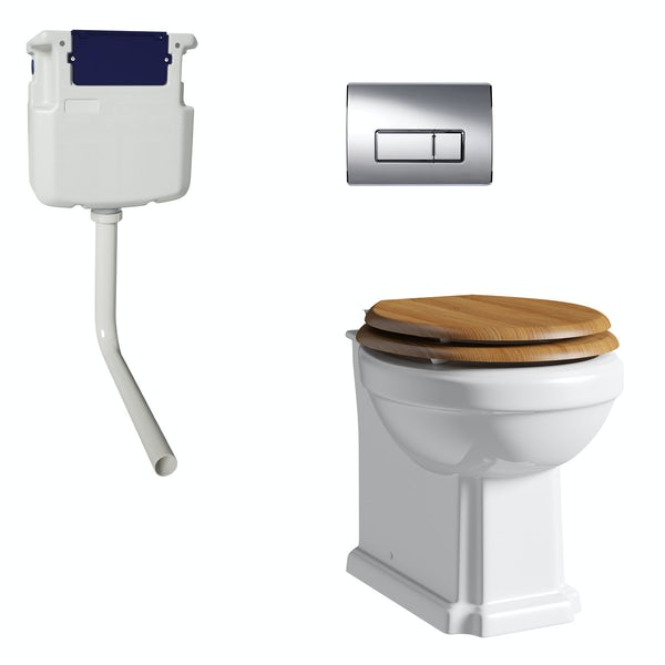 The Bath Co. Camberley back to wall toilet with oak effect soft close seat, concealed cistern and push plate