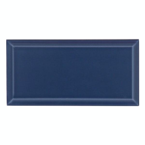 Deep Metro dark blue bevelled gloss wall tile 100mm x 200mm