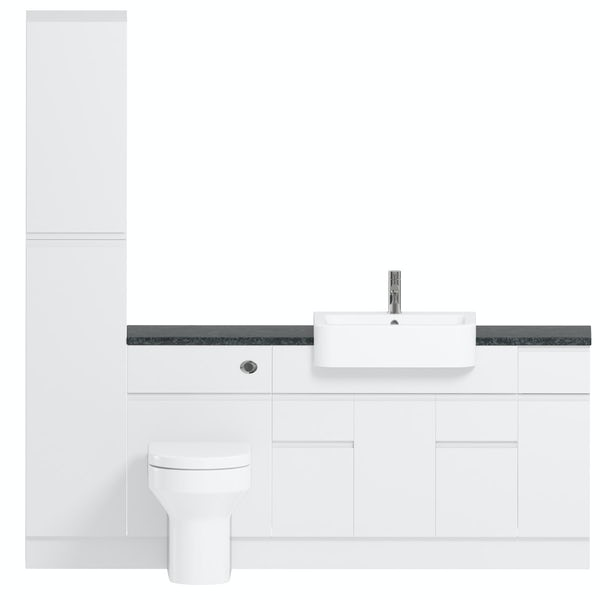 Reeves Wharfe white straight medium storage fitted furniture pack with black worktop