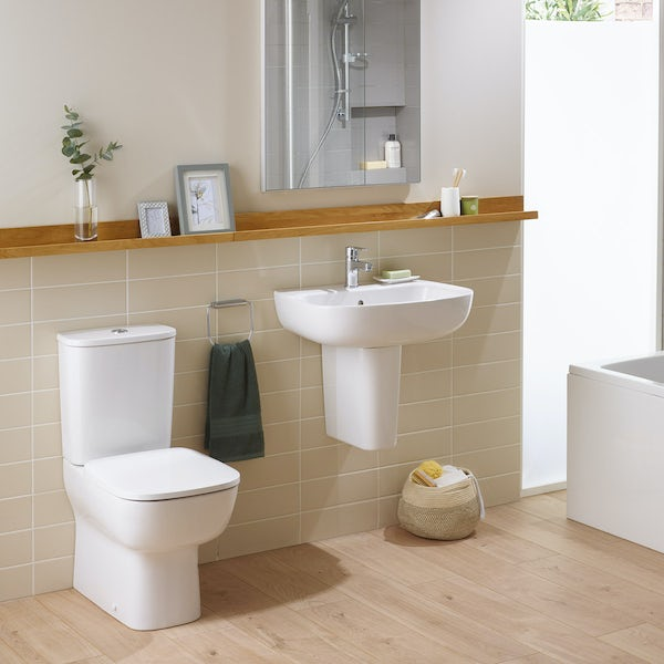Ideal Standard Studio Echo cloakroom suite with close coupled toilet and full pedestal basin 500mm