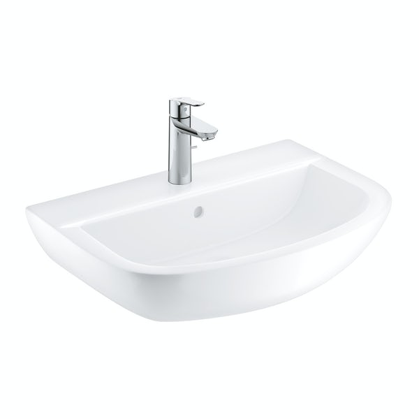 Grohe Bau Ceramic washbasin 55mm with medium BauEdge basin mixer tap
