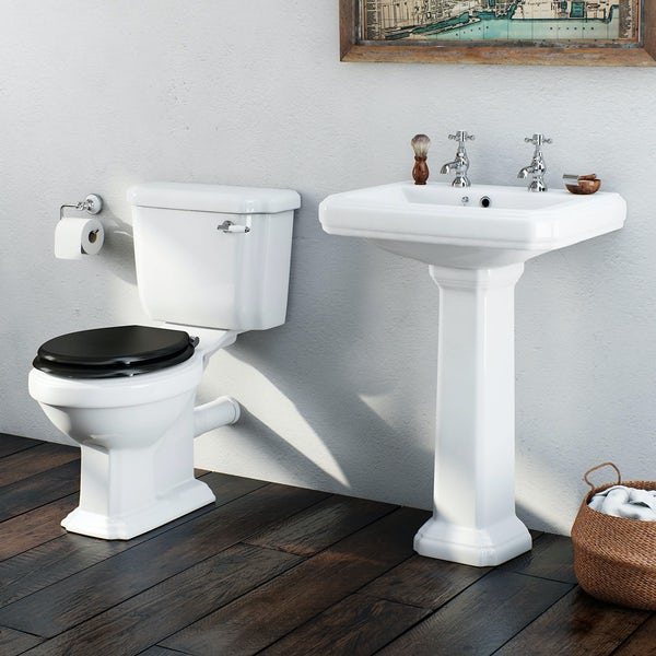 Orchard Dulwich cloakroom suite with black seat and full pedestal basin 615mm