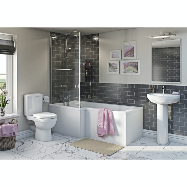 Eden bathroom suite with left handed L shaped shower bath 1700 x 850