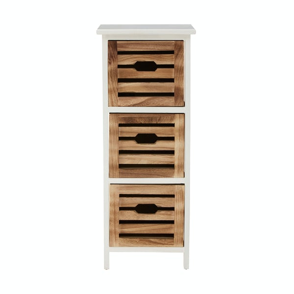 Portsmouth wooden 3 drawer storage unit in white & natural finish