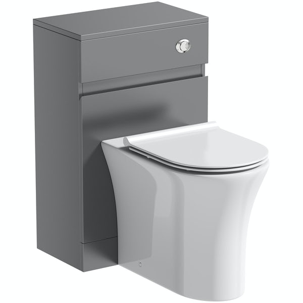 Mode Hardy slate matt grey back to wall unit and rimless toilet with soft close slim seat