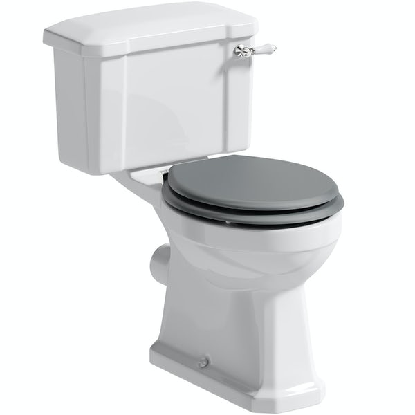 The Bath Co. Camberley close coupled toilet with grey soft close seat
