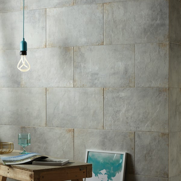 British Ceramic Tile Industrial galvanised steel grey matt wall and floor tile 298mm x 498mm