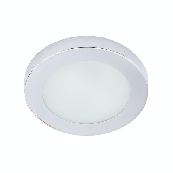 Forum Llum chrome small round flush bathroom ceiling light