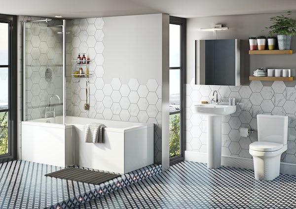 Mode Burton bathroom suite with left handed L shaped shower bath 1700 x 850