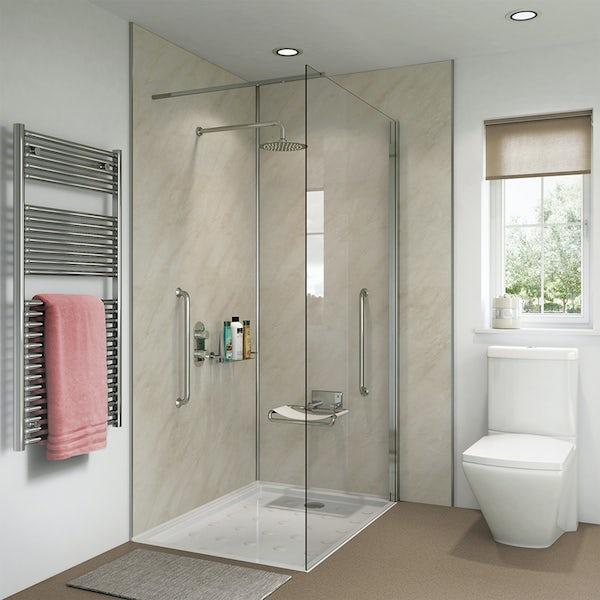 Showerwall Ivory Marble waterproof proclick shower wall panel
