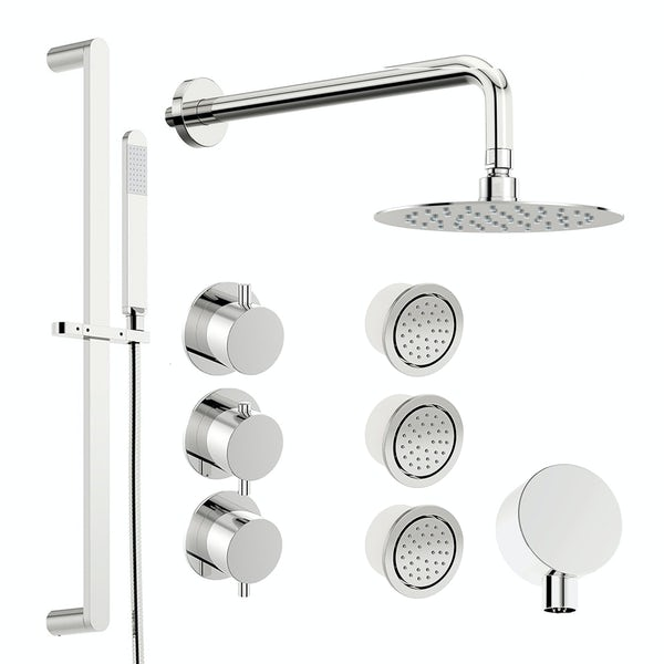 Mode Hardy thermostatic shower valve with complete wall shower set
