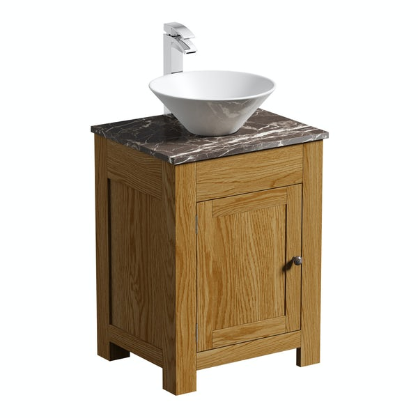The Bath Co. Chester oak washstand with brown marble top and Erie basin 600mm