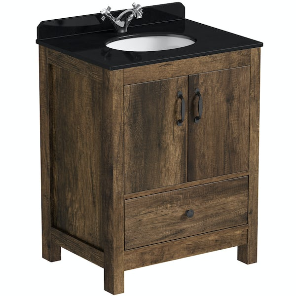 The Bath Co. Dalston vanity unit and black marble basin 650mm with mirror