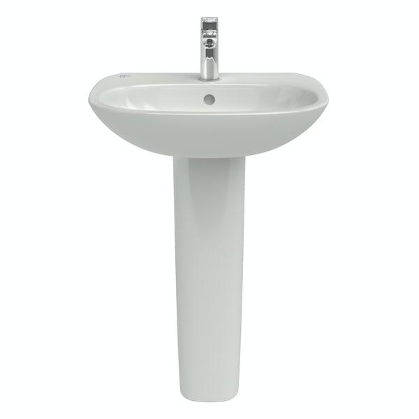 Ideal Standard Tesi 1 tap hole full pedestal bathroom basin 600mm