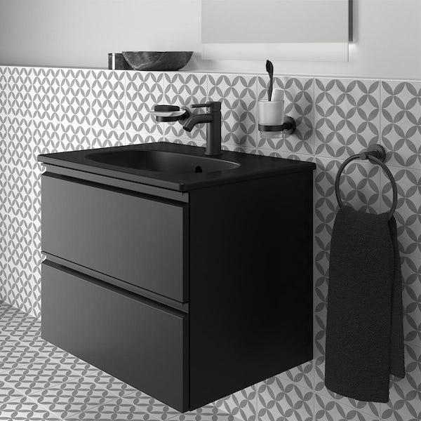Ideal Standard Tesi silk black wall hung vanity unit and basin 600mm