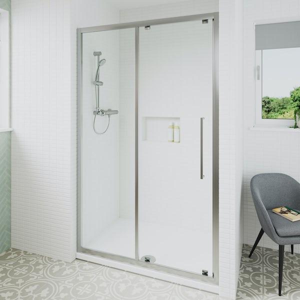 Ideal Standard 6mm sliding door rectangular shower door with tray 1200 x 800